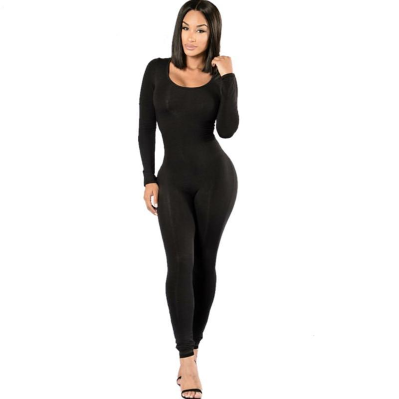 High Quality 2016 Autumn Women Sexy Black Long Jumpsuit Skinny Bodysuit Elastic Milk Silk Bodycon Party Night Club Romper Ladies-cigauy