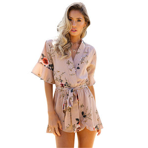 ELSVIOS Women Rompers print lace Jumpsuit Summer Short pleated Overalls Jumpsuit Female chest wrapped strapless Playsuit-cigauy