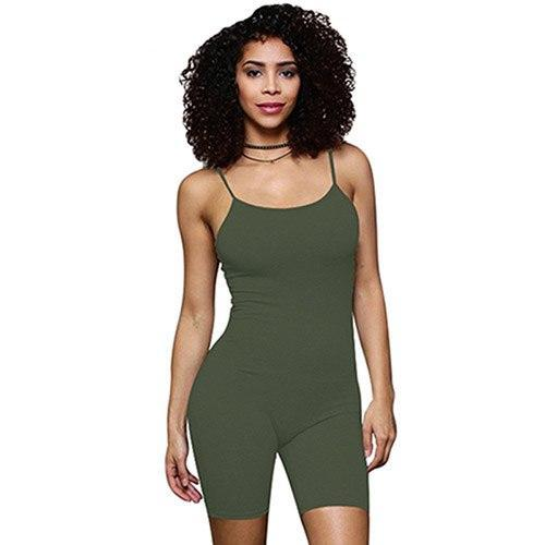 Abasona Women playsuit summer casual solid spaghetti Strap skinny playsuit backless romper short Jumpsuit bodycon bodysuit femme-cigauy