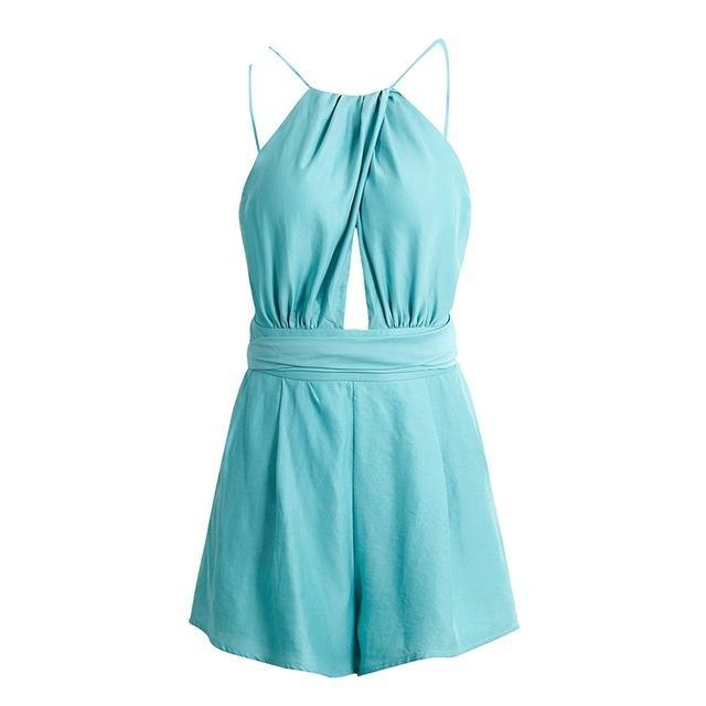 BerryGo Elegant hollow out rompers womens jumpsuit Sexy backless sashes overalls Summer bluish green beach party playsuits-cigauy