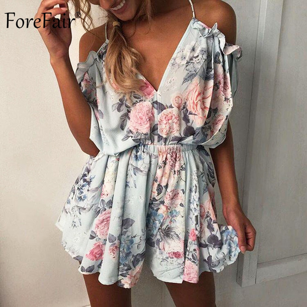 ForeFair Summer Sexy V-neck Off the Shoulder Ruffles Bodysuit Open Back Women Romper Loose Casual Lacing Floral Short Jumpsuit-cigauy