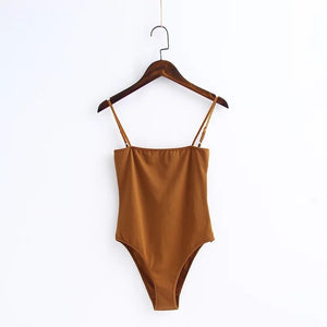 TXJRH Sexy Spaghetti Strap Backless fit Romper Body Siamese Bodysuit Slim Skinny Tight Jumpsuit Undershirt Playsuits 5 Color S-L-cigauy