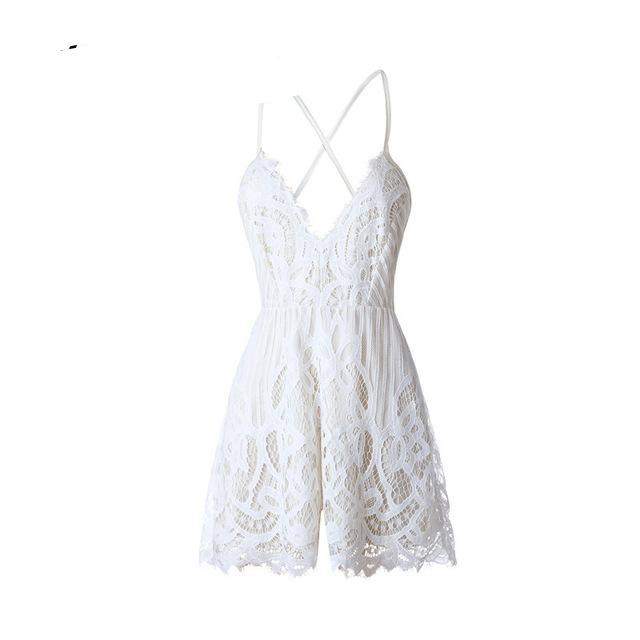 Strap White Lace Elegant Jumpsuit Romper Sexy Backless Chiffon 2017 Summer Playsuit Deep V Neck Women Boho Floral Short Overalls-cigauy