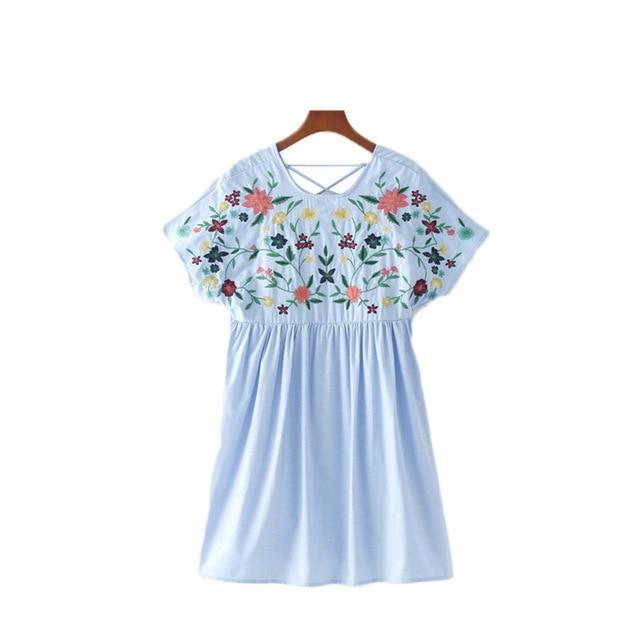 Vadim sweet lace up floral embroidery jumpsuits side zipper short sleeve pleated rompers ladies casual brand playsuits QZ3052-cigauy