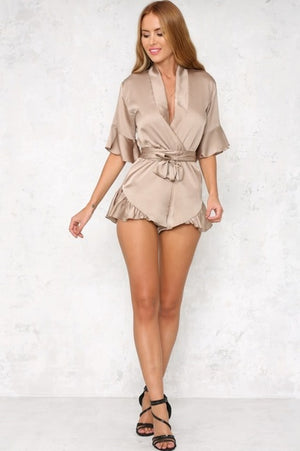 New Fashion Summer Style Imitation Satin Tie Sexy V Neck Flounced Lace One Piece Pants Rompers Women Jumpsuit L09-cigauy