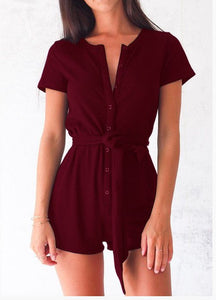 Nadafair Short Sleeve Single-breasted Casual Women Sexy Jumpsuit Black Red Grey Blue Playsuit-cigauy