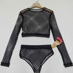 Heyouthoney women summer sexy hollow out crop top two piece fishnet mesh bodysuits swimsuits jumpsuit rompers combinaison-cigauy