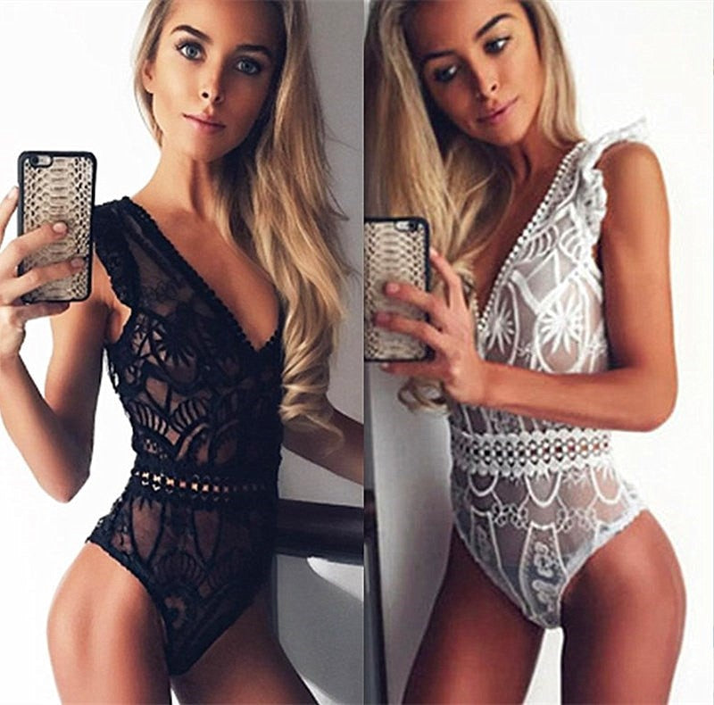 Sexy Lace Bodysuit Women Fashion Hollow Out Black Mesh Jumpsuit Stretchy Playsuit Romper Body Feminino Overalls-cigauy