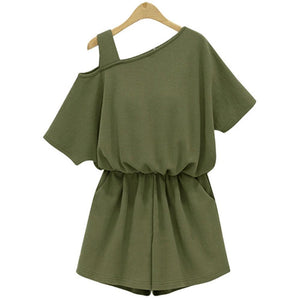 New Summer Women's Playsuits Jumpsuit Army Green Cotton Rompers 4XL Ladies Sexy Short sleeve Ladies Beach Wear Clothes Overalls-cigauy