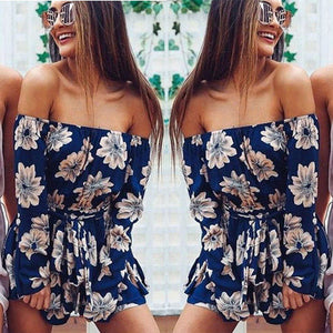 New Women Summer Jumpsuit Female Off Shoulder Beach Jumpsuit Clubwear Sexy Ladies Bodycon Playsuit Romper Womens Outfit Clothes-cigauy