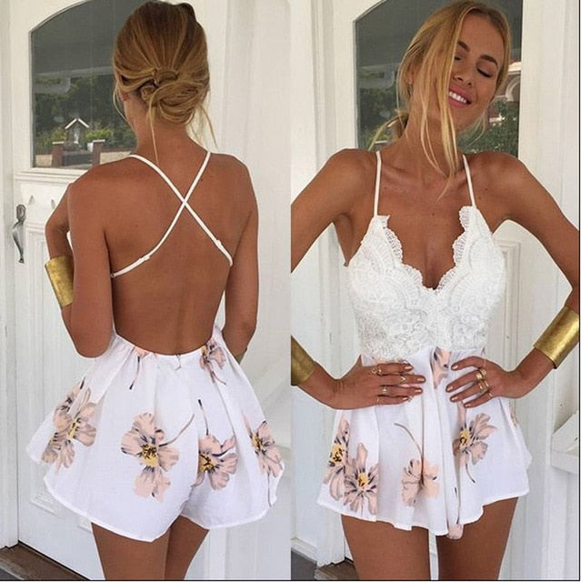 Summer Lace Halter V Neck Floral Playsuit Sexy Shorts Rompers Womens Overall Jumpsuits macacao feminino-cigauy