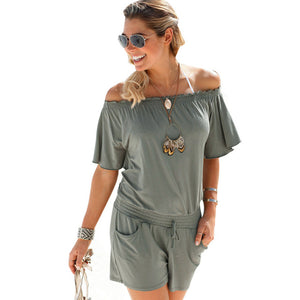 elegant jumpsuit 2017 casual rompers Women overalls summer solid Off shoulder sexy Playsuit Bodycon Clubwear B2-cigauy