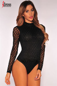 IDress Mesh White Bodysuits Female Body with Long Sleeves Hollow Fitness Sexy Hot Slim Bodysuit Women Clothes 2017 Autumn Sale-cigauy