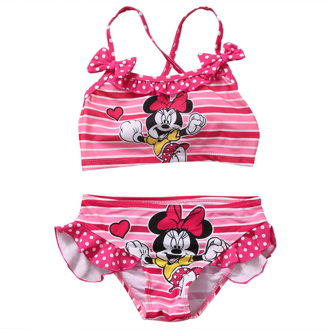 2017 New Minnie Mouse Kids Girl Swimwear Bikini Set Cute Bowknot Beachwear Character Bathing Suit Swimsuit 2-7Years-cigauy