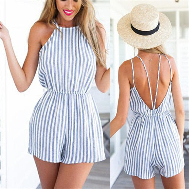 Women Sleeveless Summer Style Beach Rompers Women Jumpsuit Ladies Sexy Vertical Stripe Backless Cutaway Rompers-cigauy