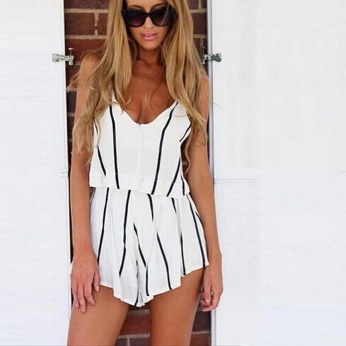 2016 Jumpsuits Romper Sexy Trumpet Lace Sleeveless Fashion V neck Shorts Chiffon Jumpsuits White Black Striped Playsuits-cigauy