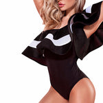 Chesmono 2017 Summer One Shoulder Ruffles Bodysuit Women Sexy Stripe Bodycon Party Club Women Jumpsuit Romper Overalls Playsuit-cigauy