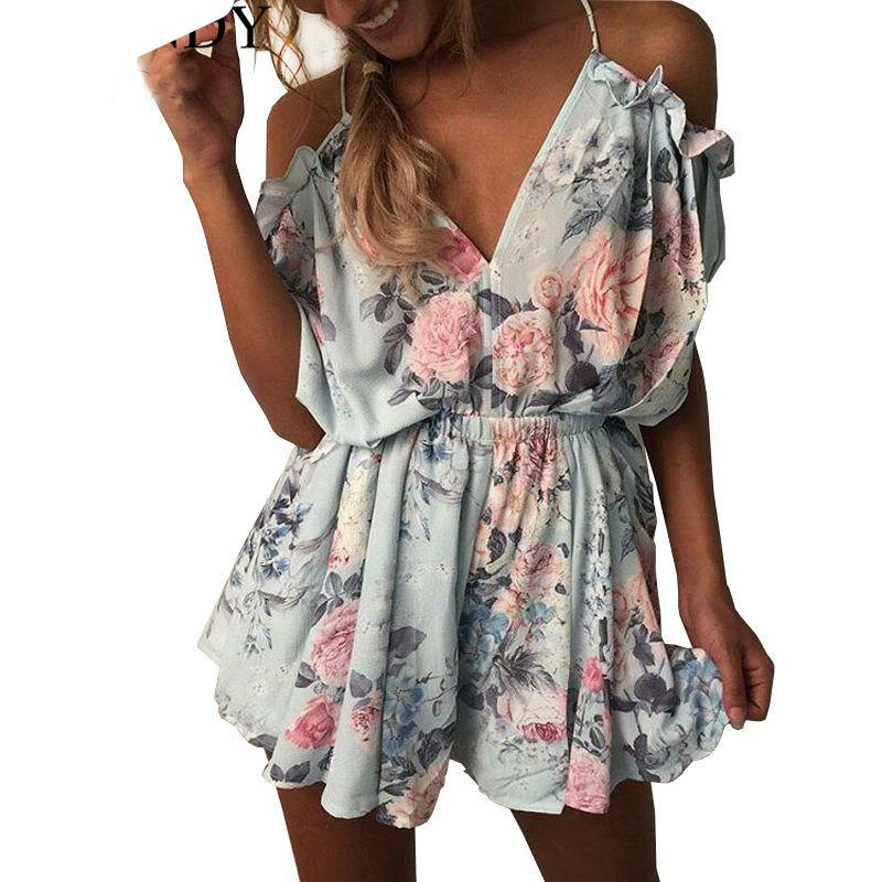 Women Summer Short Jumpsuits Deep V Nice Backless Off Shoulder Loose Playsuit Floral Printed Rompers Bodysuit Overall Plus Size-cigauy
