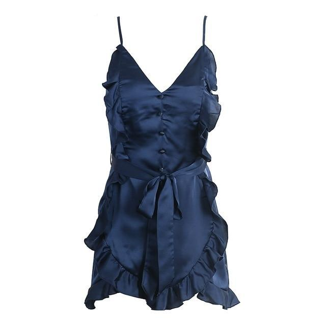 Simplee V neck ruffle bow high waist satin women jumpsuit romper Sexy sleeveless loose jumpsuit summer streetwear overalls-cigauy