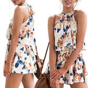 Casual Womens Holiday Mini Playsuit Ladies Jumpsuit Romper Summer Beach Shorts Sundress 2Pcs Set-cigauy