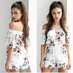 2017 Summer Women Ladies Clubwear Casual Sexy V Neck Playsuit Off Shoulder Bodycon Party Beach Floral Jumpsuit&Romper Trousers-cigauy
