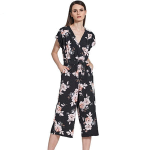 Tangada Floral Print Jumpsuit Romper Women 2017 Elegant Sexy V-Neck Bow Tie Overalls Causal Summer Beach Jumpsuits Female FF1-cigauy