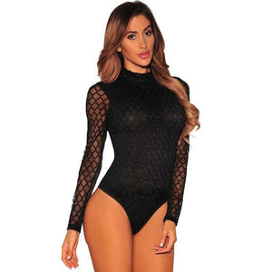 Ziamonga Mesh White Bodysuits Female Body With Long Sleeve Hollow Fitness Sexy Hot Slim Bodysuit Women Clothes 2017 Autumn Sale-cigauy