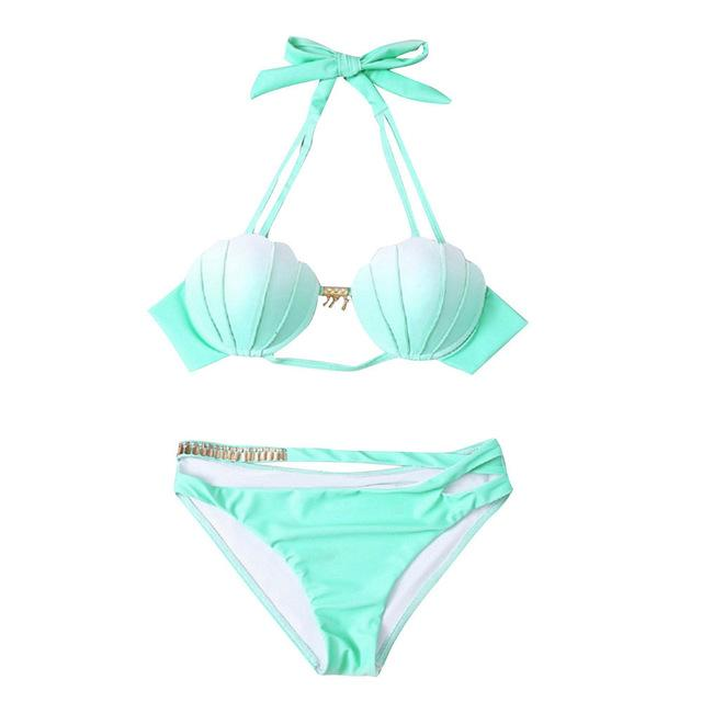 Mermaid Shell Bra Push Up Two-Piece Suit Swimwear Gradient Color Beachwear Sexy Bikinis Set Swimsuit Biquini Maillot De Bain-cigauy