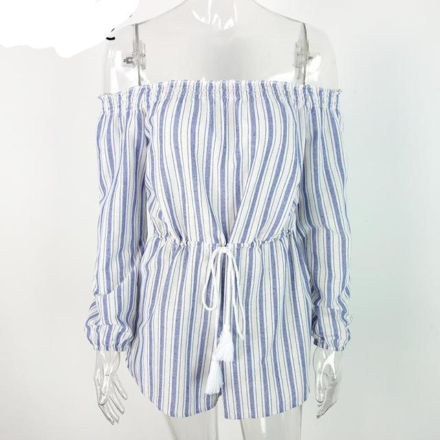 Simplee Sexy off shoulder blue striped women jumpsuit romper Summer style beach short playsuit Casual macacao lining overalls-cigauy