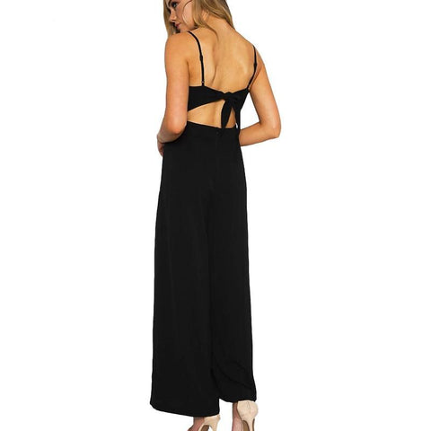 a11fd27ebea4 Lily Rosie Girl Backless Bow Black Sexy Jumpsuits Women Long Pants Playsuits  Spaghetti Strap Casual Beach