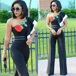 Long Pants Romper Women Jumpsuit Ruffle Rose Embroidery Sexy One Shoulder Party Jumpsuits Overalls for Women Combinaison Femme-cigauy