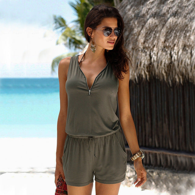 Beach Casual V-neck Fashion Sleeveless Zipper Slim Woman's Jumpsuit-cigauy