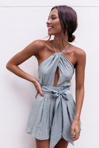 Casual Camis Playsuit Cut Out Sexy Bodysuit Women Shorts Boho Jumpsuit vestido Sash Tie Summer Style Halter Beach Resort Romper-cigauy