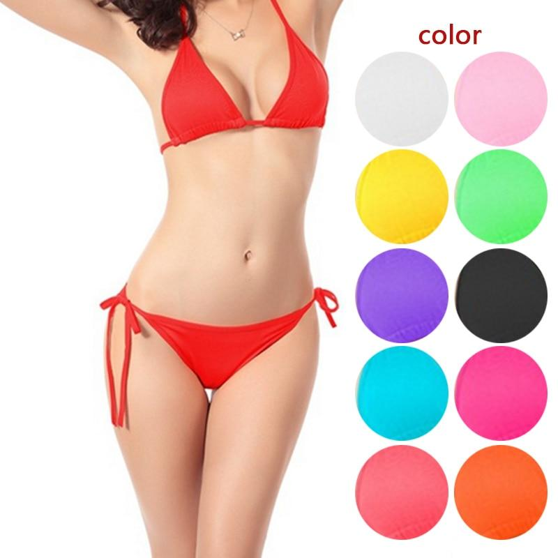 2017 Simple Design Women Swimwear Sexy Bikinis Thong Bottom Bathing Suit Push Up Brazilian Bikini Solid Color Swimsuits BB55-cigauy