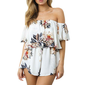 Lily Rosie Girl Boho White Floral Off Shoulder Ruffles Playsuits Women Backless Sexy Summer Beach Jumpsuit Short Rompers Overall-cigauy