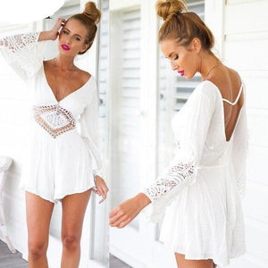 Sexy Bodysuit Women 2017 Women Jumpsuit Playsuit Rompers Womens Jumpsuit Deep V-Neck Long Sleeve Backless Lace combinaison femme-cigauy