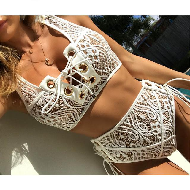 Sporlike Blcak White Lace High Waist Swimsuit Bikini Set 2017 Sexy Solid Bikinis Women Push Up Swimwear Banting Suit Swim-cigauy