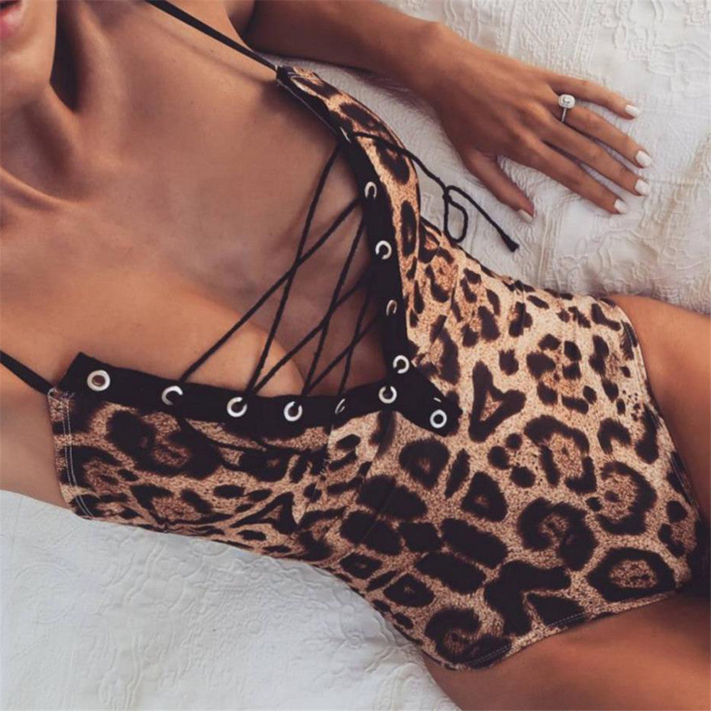 Leopard Sexy Bodysuit Women Shorts Lace Up Camis Jumpsuit Music Festival Cheap Clothes China Female Boho Print Bodycon Playsuit-cigauy