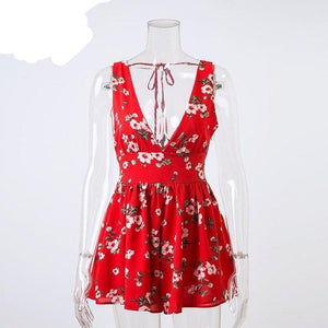 Lily Rosie Girl Red Floral Print Boho Sexy Strap Women Jumpsuit Deep V Neck Summer Beach Party Short Rompers Playsuit Overall-cigauy