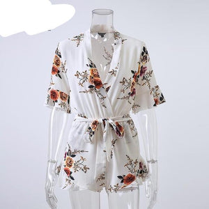 Lily Rosie Girl Deep V Neck White Floral Print Women Jumpsuit Boho Summer Short Rompers Ruffles Sexy Sashes Playsuit Overall-cigauy