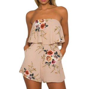 Lily Rosie Girl Off Shoulder Khaki Floral Print Sexy Playsuits Women Sexy Summer Beach Short Rompers Jumpsuits Boho Overalls-cigauy