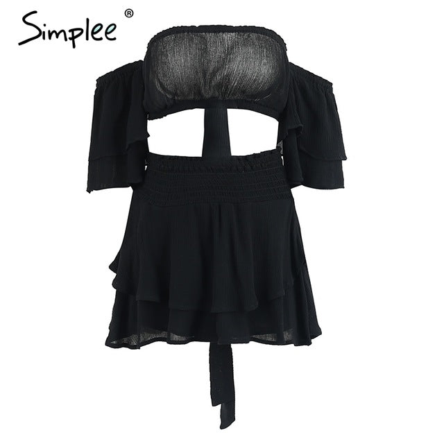 Simplee Off shoulder ruffles women jumpsuit romper Sexy high waist cross lace up backless overalls Summer elastic beach jumpsuit-cigauy
