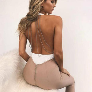 Autumn 2017 New Fashion Sequined Chains Bodysuit Women Sexy Backless Deep V Neck Jumpsuit Romper Overalls Female Body Suit-cigauy