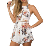 Lily Rosie Girl Off Shoulder Halter White Floral Playsuits Women Backless Bow Summer Beach Short Rompers Boho Jumpsuits Overall-cigauy