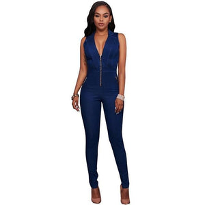 IDress Women Jeans Jumpsuit Denim Long Pants Sexy Deep V Neck Slim Overalls Jumpsuit Girl Sleeveless Club Wear Bodysuit Romper-cigauy