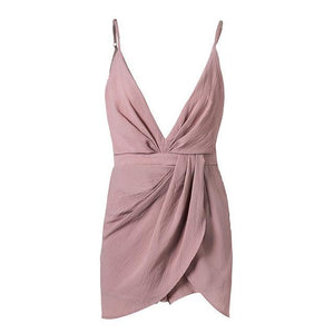 NLW Fashion Deep V Neck Women Playsuits Pink Backless Off Shoulder Short Jumpsuit Beach Party Sexy Overalls 2017 Casual Romper-cigauy