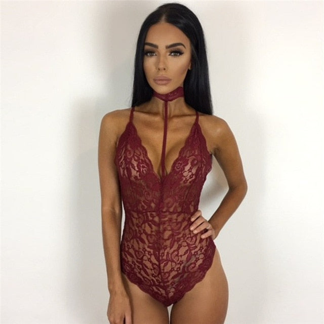 Whatiwear 2017 Sexy Perspective Bodysuit Women Jumpers Rompers Sexy Club Bodysuits Halter Scoop Back Sleeveless Cami Bodysuit-cigauy