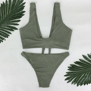 pfflook Brand Brazilian Women Bikini 2017 New Sexy Two-Pieces Swimwear Solid Sleeveless Bodysuits Hollow Out Bathing Suit-cigauy