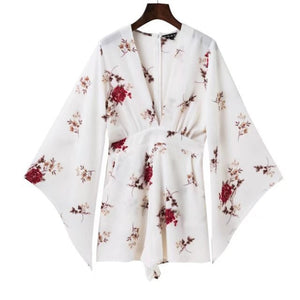 Sexy Women Rompers Deep V-neck Red Floral Prints Trumpet Sleeves Loose Rompers Summer Style Chiffon Jumpsuits 5AD90-cigauy