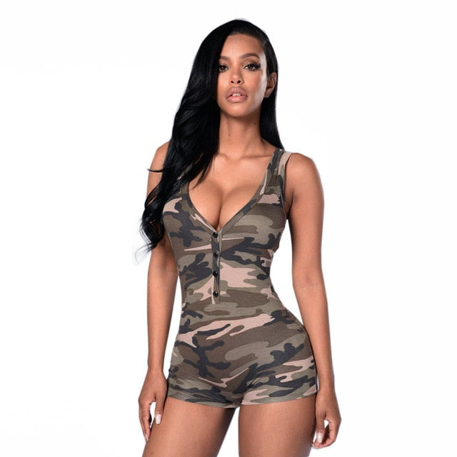 Women Jumpsuit 2017 Sexy Romper Bodysuit Bodycon Deep V-neck Sleeveless Army Camouflage Shorts Bodysuit Combinaison Femme-cigauy